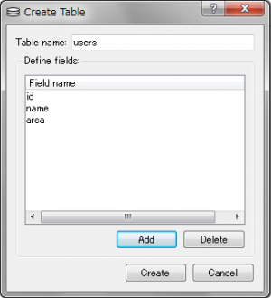 SQLite Database Browser – Create Table - 2